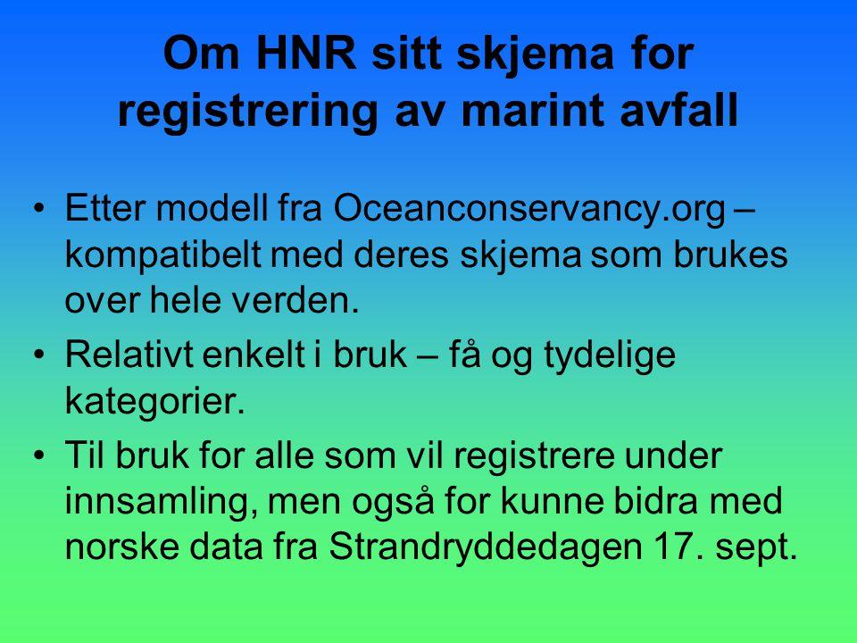 Lettbrukt - 2 sider Stedsinformasjon + 46 kategorier Om HNR skjema forts.