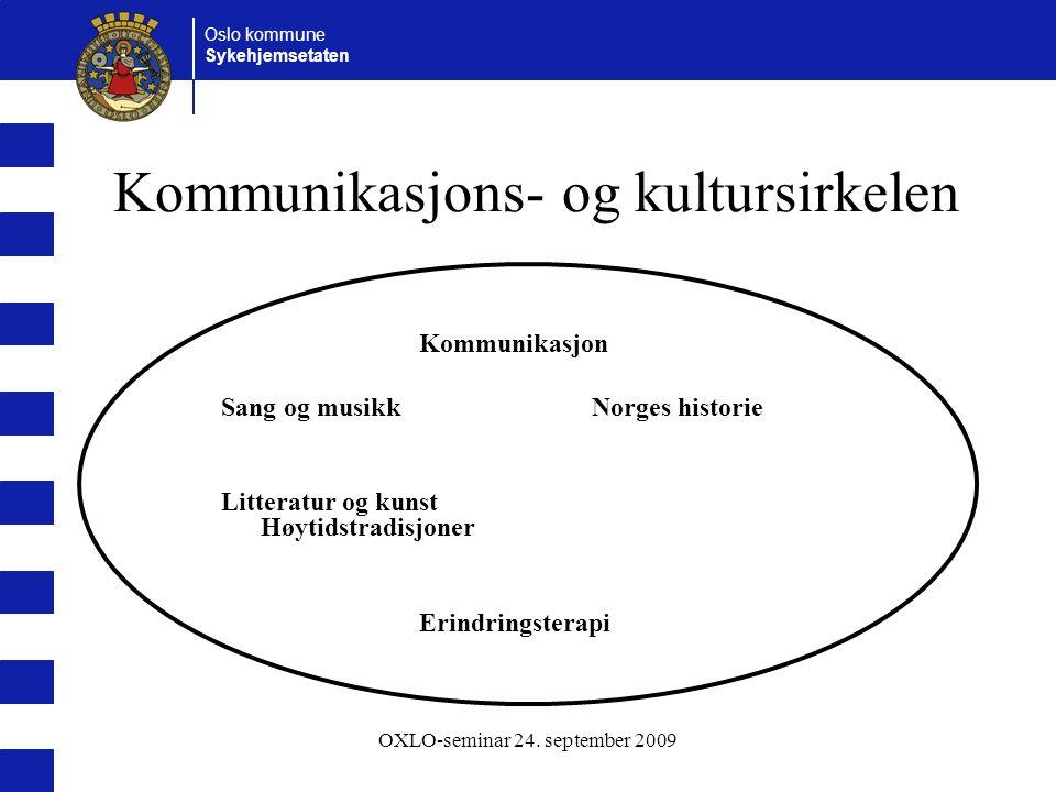 Oslo kommune Sykehjemsetaten OXLO-seminar 24. september 2009 Kommunikasjons- og kultursirkelen Kommunikasjon Sang og musikk Norges historie Litteratur