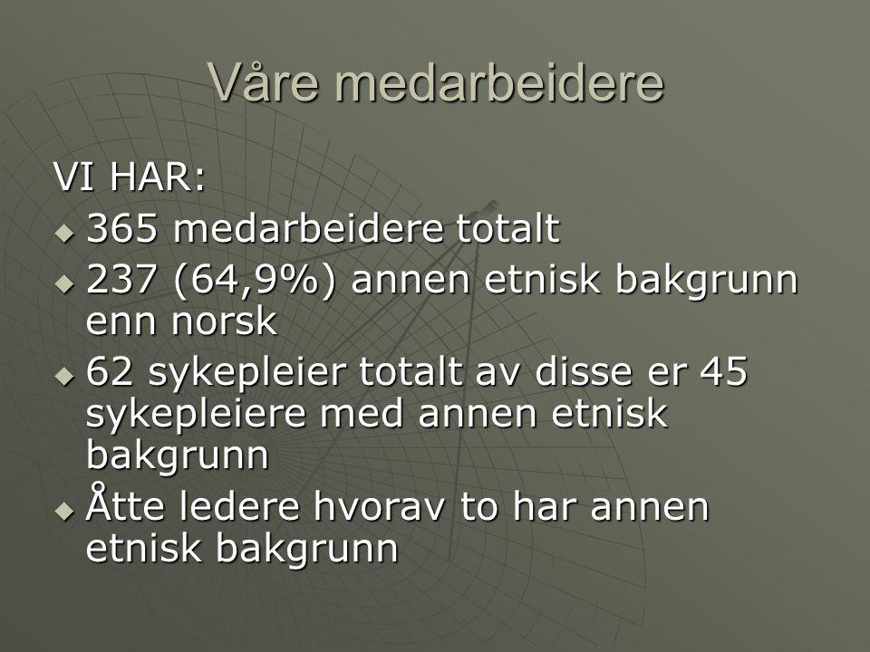 Våre medarbeidere VI HAR:  365 medarbeidere totalt  237 (64,9%) annen etnisk bakgrunn enn norsk  62 sykepleier totalt av disse er 45 sykepleiere me