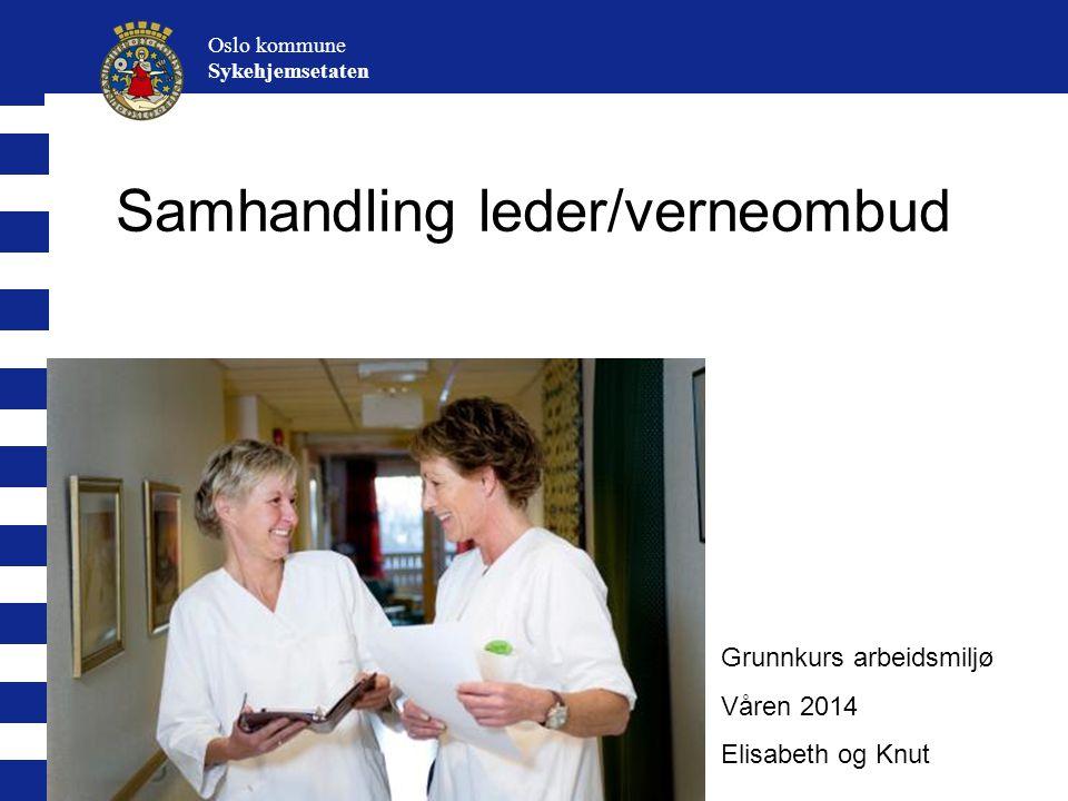Samhandling leder/verneombud Oslo kommune Sykehjemsetaten Grunnkurs arbeidsmiljø Våren 2014 Elisabeth og Knut