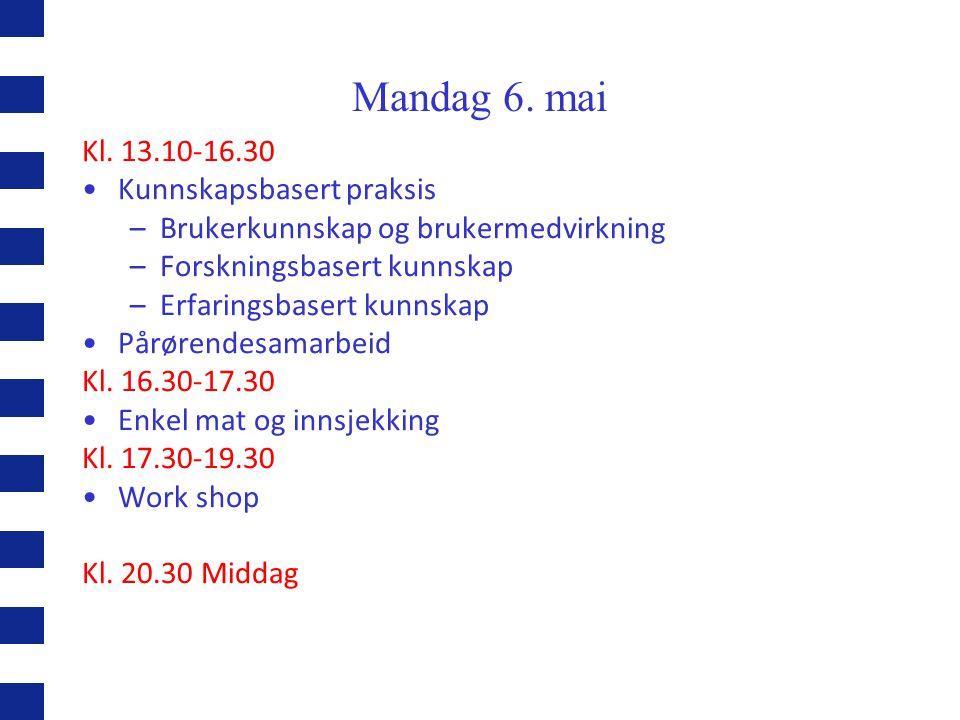 Mandag 6. mai Kl. 13.10-16.30 Kunnskapsbasert praksis –Brukerkunnskap og brukermedvirkning –Forskningsbasert kunnskap –Erfaringsbasert kunnskap Pårøre
