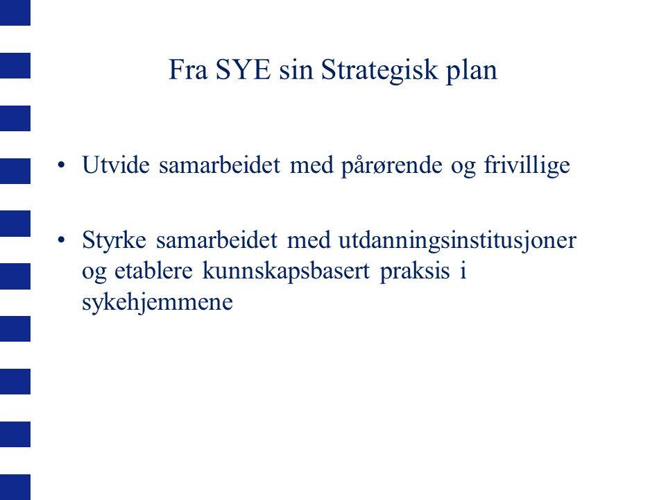 Fra SYE sin Strategisk plan Utvide samarbeidet med pårørende og frivillige Styrke samarbeidet med utdanningsinstitusjoner og etablere kunnskapsbasert praksis i sykehjemmene
