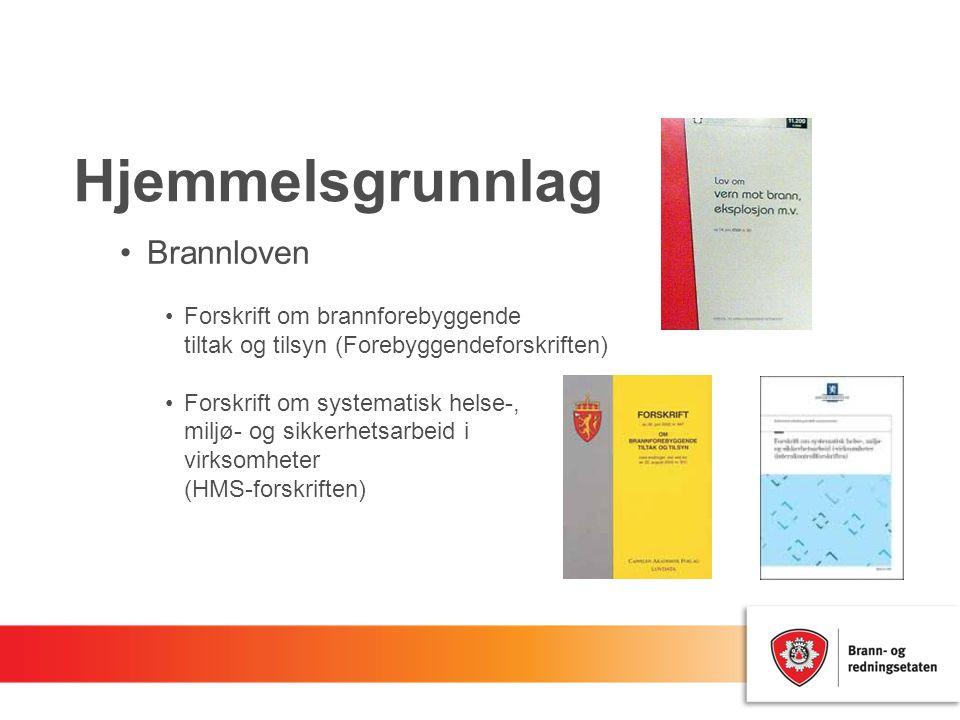 Hjemmelsgrunnlag Brannloven Forskrift om brannforebyggende tiltak og tilsyn (Forebyggendeforskriften) Forskrift om systematisk helse-, miljø- og sikke