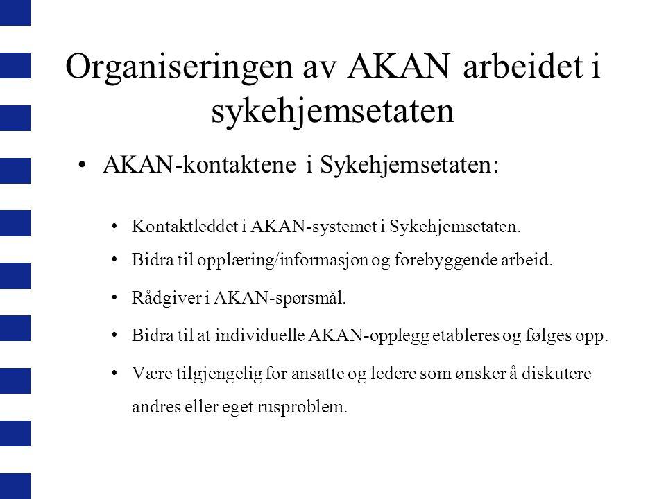 Organiseringen av AKAN arbeidet i sykehjemsetaten AKAN-kontaktene i Sykehjemsetaten: Kontaktleddet i AKAN-systemet i Sykehjemsetaten. Bidra til opplær