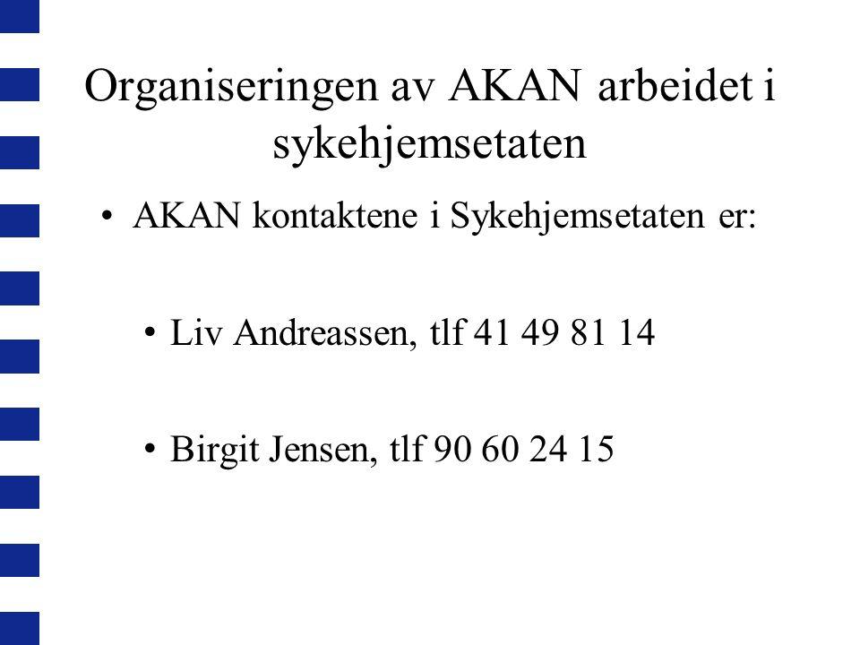 Organiseringen av AKAN arbeidet i sykehjemsetaten AKAN kontaktene i Sykehjemsetaten er: Liv Andreassen, tlf 41 49 81 14 Birgit Jensen, tlf 90 60 24 15