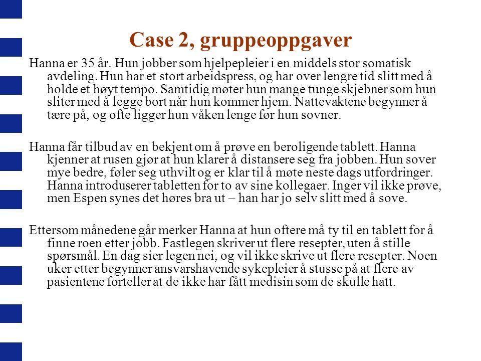 Case 2, gruppeoppgaver Hanna er 35 år. Hun jobber som hjelpepleier i en middels stor somatisk avdeling. Hun har et stort arbeidspress, og har over len