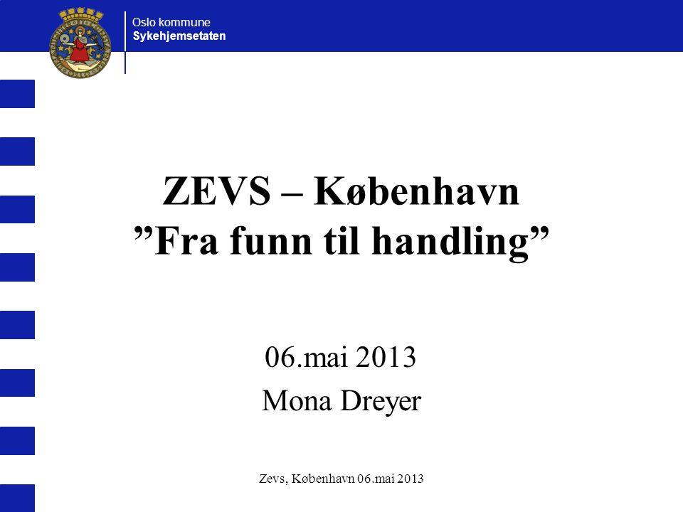 Oslo kommune Sykehjemsetaten Zevs, København 06.mai 2013 ZEVS – København Fra funn til handling 06.mai 2013 Mona Dreyer