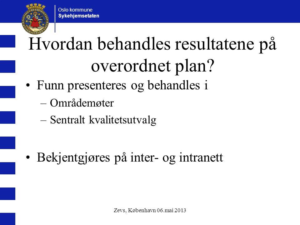 Oslo kommune Sykehjemsetaten Hvordan behandles resultatene på overordnet plan.