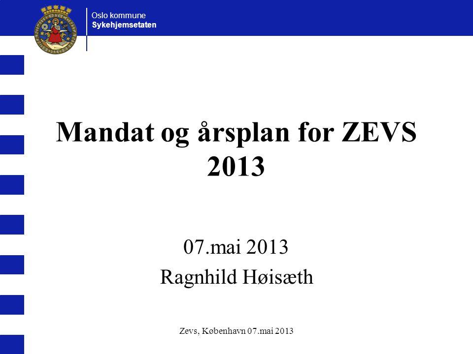 Oslo kommune Sykehjemsetaten Zevs, København 07.mai 2013 Mandat og årsplan for ZEVS 2013 07.mai 2013 Ragnhild Høisæth