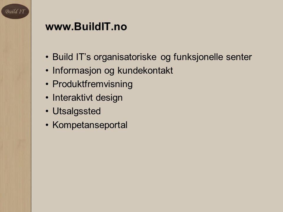 www.BuildIT.no Build IT's organisatoriske og funksjonelle senter Informasjon og kundekontakt Produktfremvisning Interaktivt design Utsalgssted Kompeta