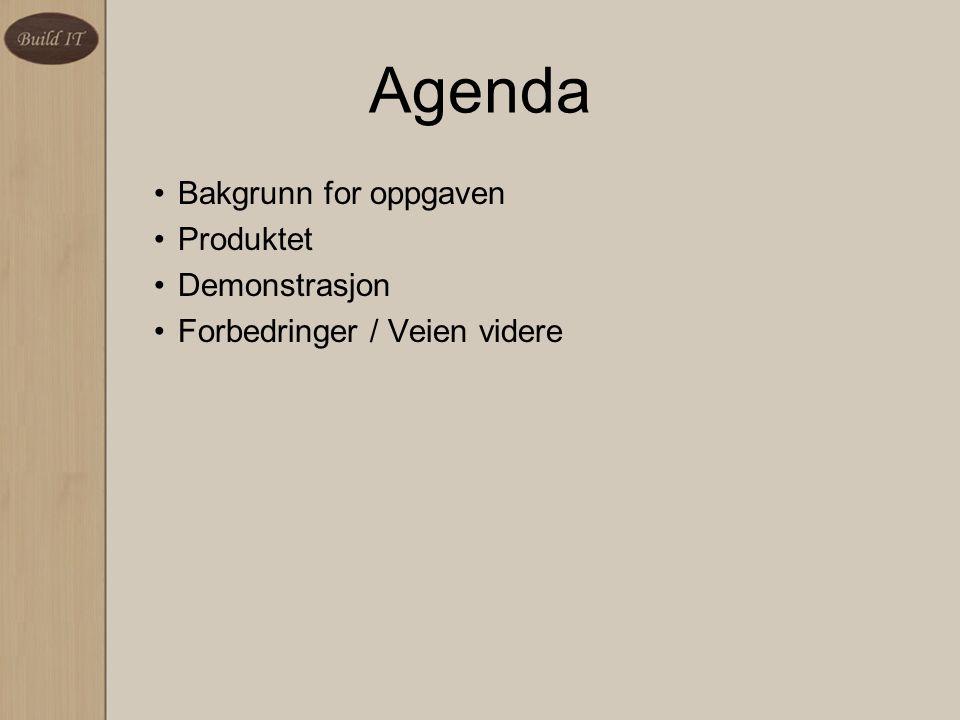 Agenda Bakgrunn for oppgaven Produktet Demonstrasjon Forbedringer / Veien videre