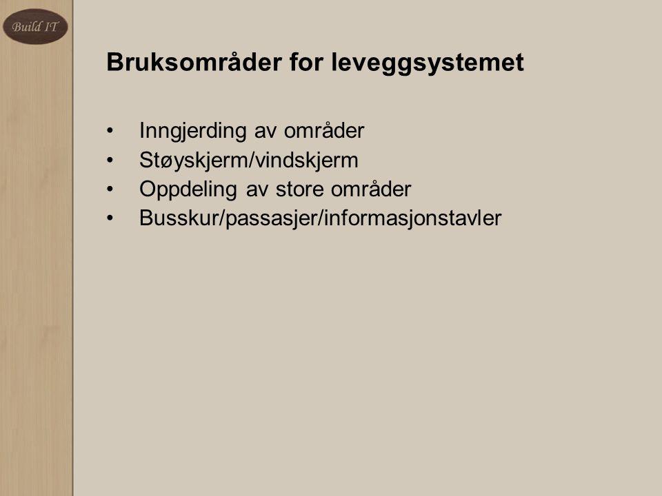 Bruksområder for leveggsystemet Inngjerding av områder Støyskjerm/vindskjerm Oppdeling av store områder Busskur/passasjer/informasjonstavler