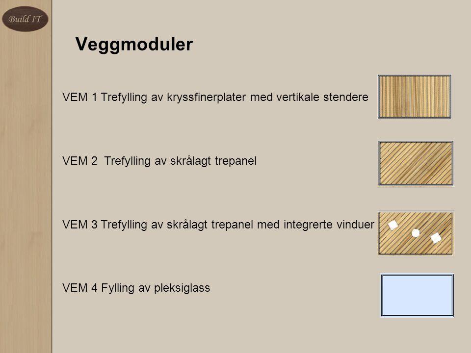 Veggmoduler VEM 1 Trefylling av kryssfinerplater med vertikale stendere VEM 2 Trefylling av skrålagt trepanel VEM 3 Trefylling av skrålagt trepanel me
