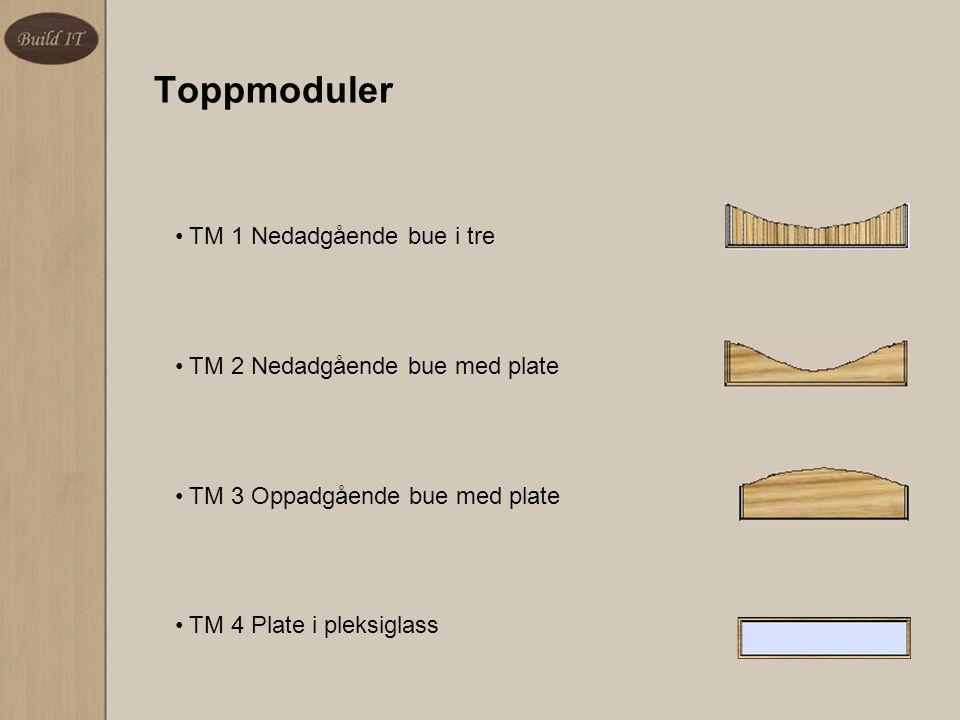 TM 1 Nedadgående bue i tre TM 2 Nedadgående bue med plate TM 3 Oppadgående bue med plate TM 4 Plate i pleksiglass Toppmoduler