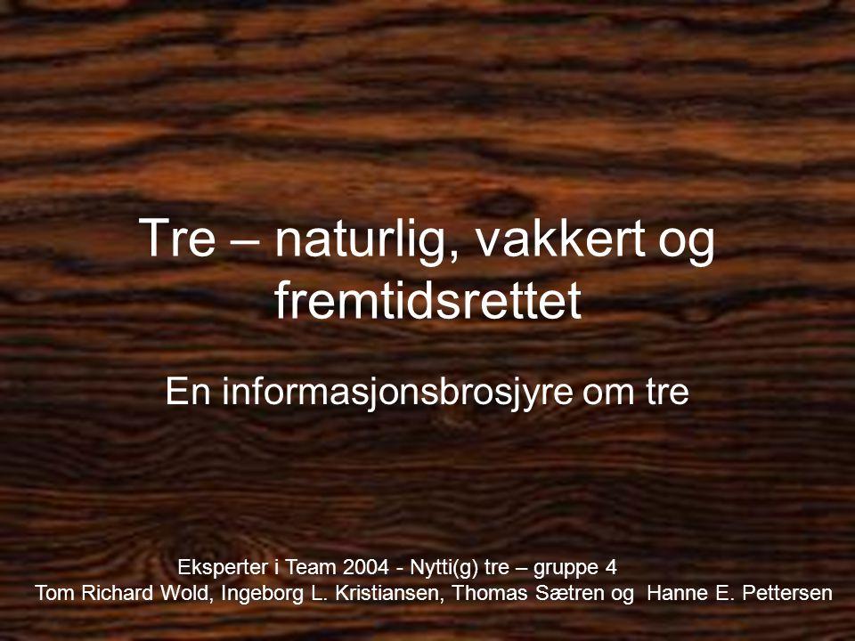 Tre – naturlig, vakkert og fremtidsrettet En informasjonsbrosjyre om tre Eksperter i Team 2004 - Nytti(g) tre – gruppe 4 Tom Richard Wold, Ingeborg L.