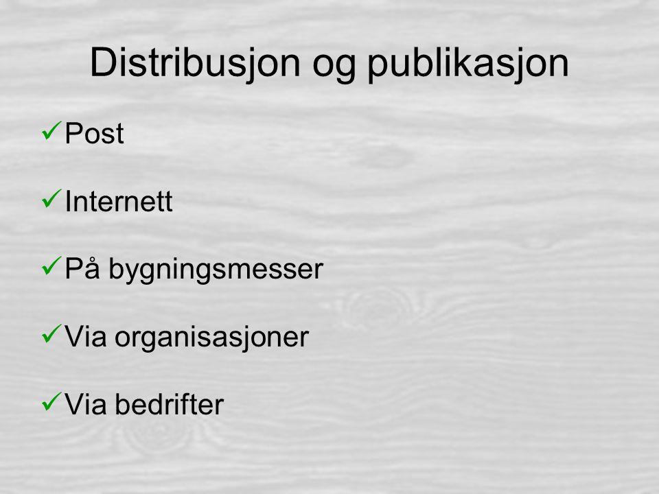 Distribusjon og publikasjon Post Internett På bygningsmesser Via organisasjoner Via bedrifter