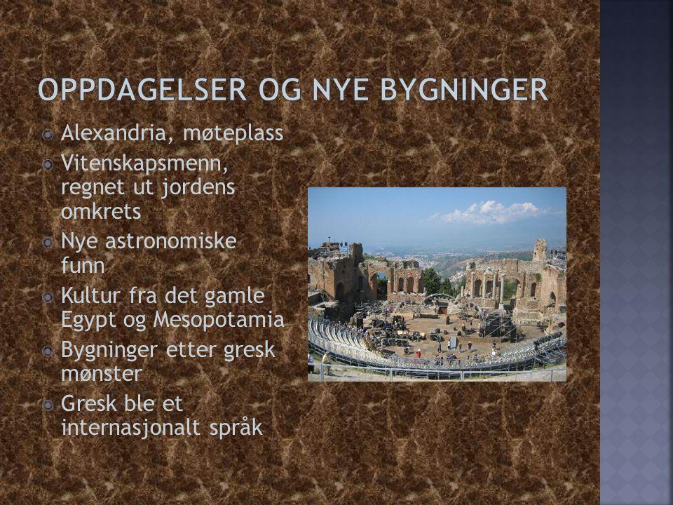  Alexandria, møteplass  Vitenskapsmenn, regnet ut jordens omkrets  Nye astronomiske funn  Kultur fra det gamle Egypt og Mesopotamia  Bygninger et