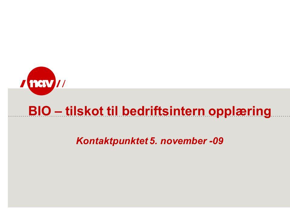 BIO – tilskot til bedriftsintern opplæring Kontaktpunktet 5. november -09