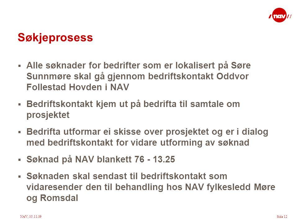 NAV, 05.11.09Side 12 Søkjeprosess  Alle søknader for bedrifter som er lokalisert på Søre Sunnmøre skal gå gjennom bedriftskontakt Oddvor Follestad Ho