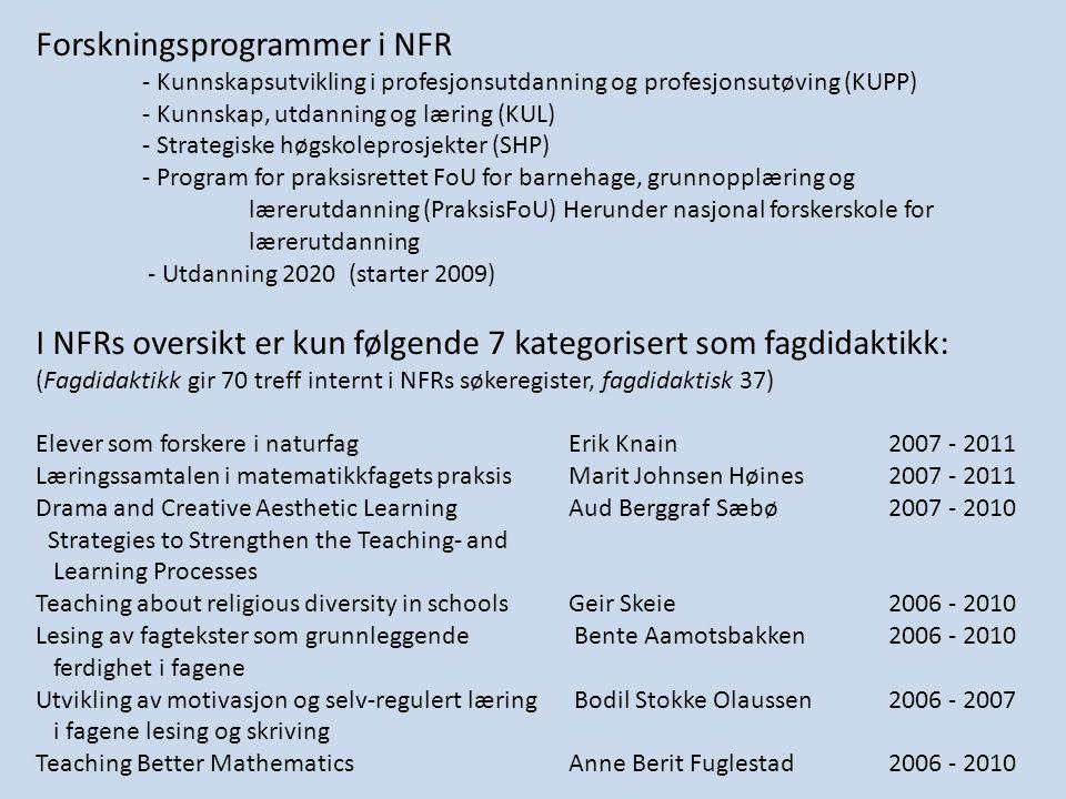 Politiske dokumenter Lærerutdanningsmeldinger St.meld.