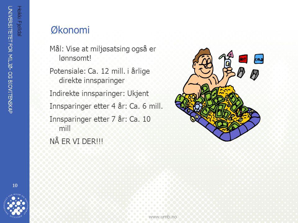 UNIVERSITETET FOR MILJØ- OG BIOVITENSKAP www.umb.no Heikki Fjelldal 10 Økonomi Mål: Vise at miljøsatsing også er lønnsomt! Potensiale: Ca. 12 mill. i