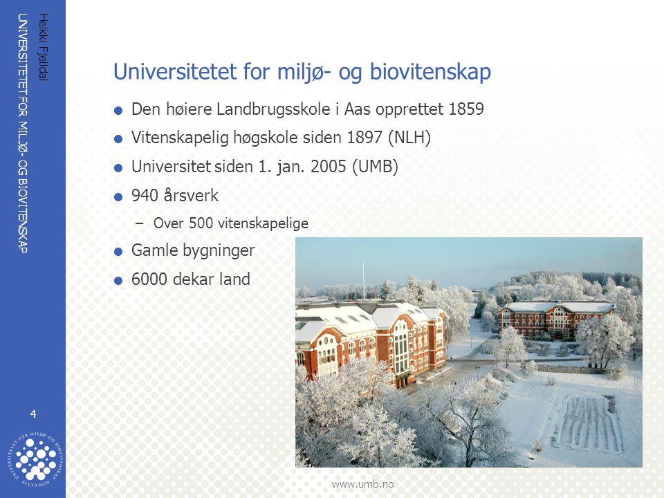 UNIVERSITETET FOR MILJØ- OG BIOVITENSKAP www.umb.no Heikki Fjelldal 4 Universitetet for miljø- og biovitenskap  Den høiere Landbrugsskole i Aas oppre