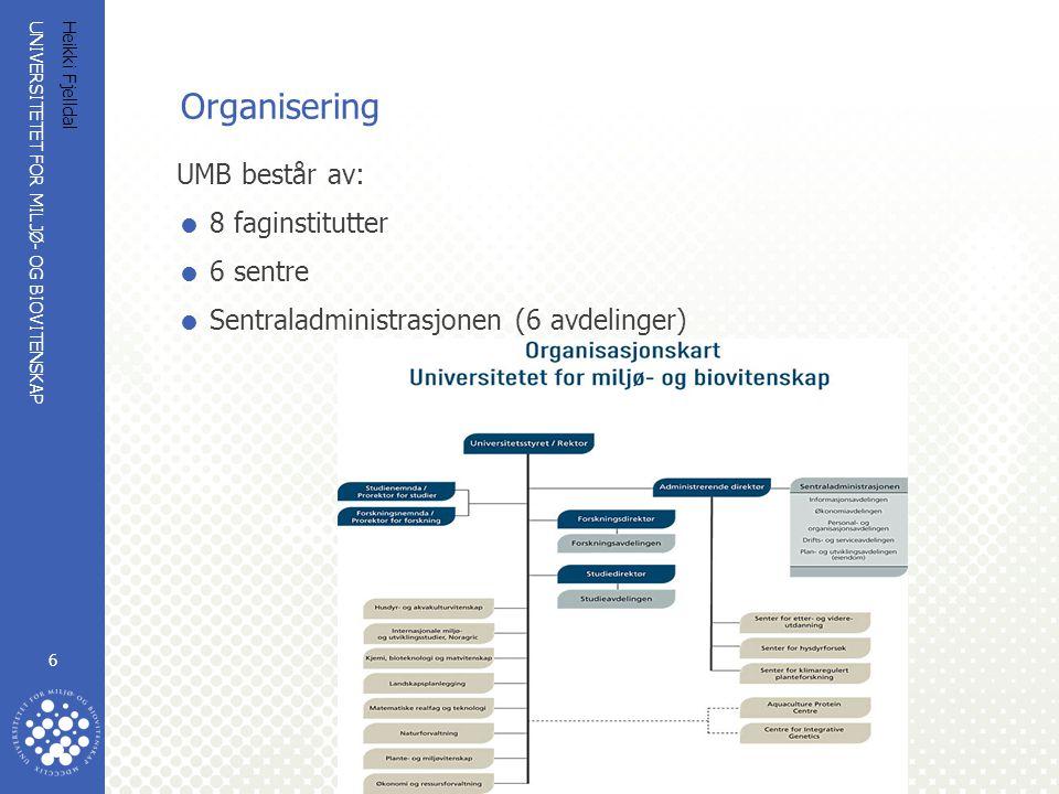 UNIVERSITETET FOR MILJØ- OG BIOVITENSKAP www.umb.no Heikki Fjelldal 6 Organisering UMB består av:  8 faginstitutter  6 sentre  Sentraladministrasjo