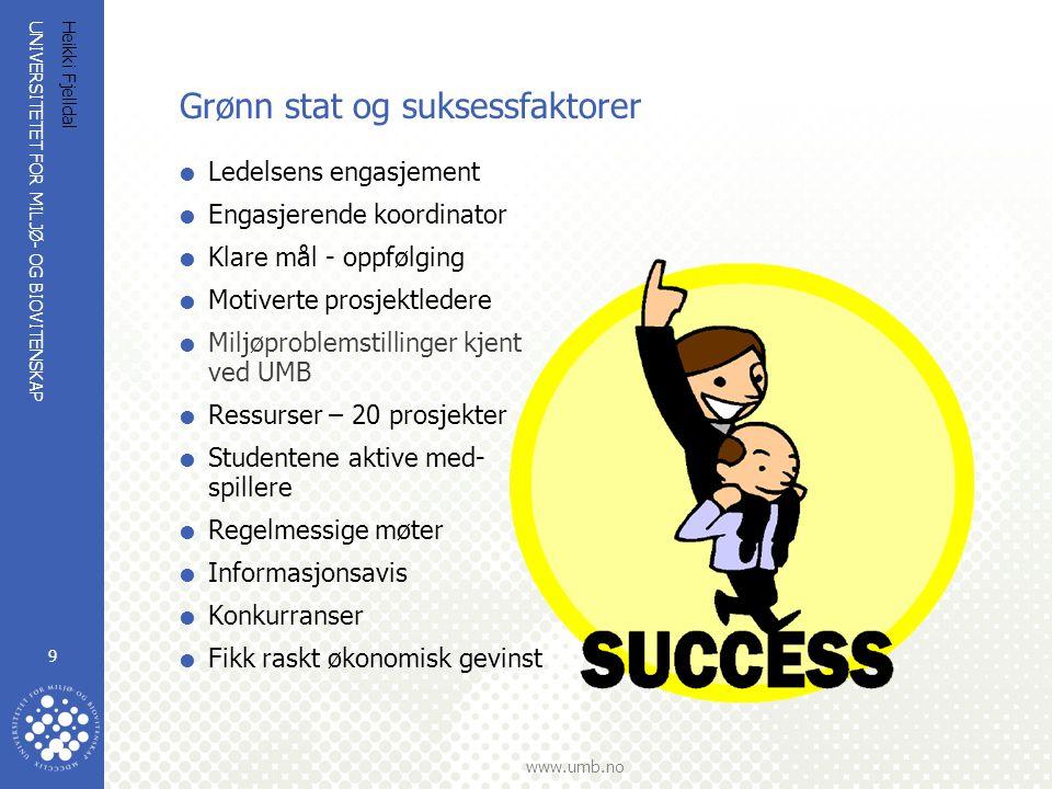 UNIVERSITETET FOR MILJØ- OG BIOVITENSKAP www.umb.no Heikki Fjelldal 9 Grønn stat og suksessfaktorer  Ledelsens engasjement  Engasjerende koordinator