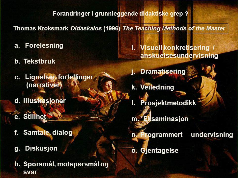 Forandringer i grunnleggende didaktiske grep ? Thomas Kroksmark Didaskalos (1996) The Teaching Methods of the Master a. Forelesning b.Tekstbruk c. Lig