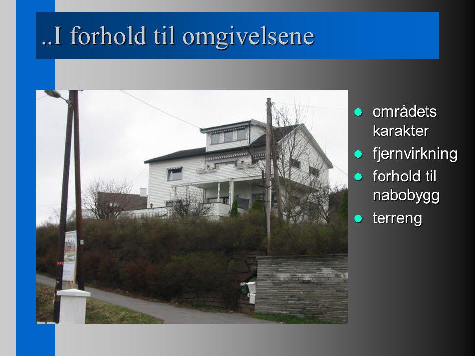 ..I forhold til omgivelsene områdets karakter områdets karakter fjernvirkning fjernvirkning forhold til nabobygg forhold til nabobygg terreng terreng
