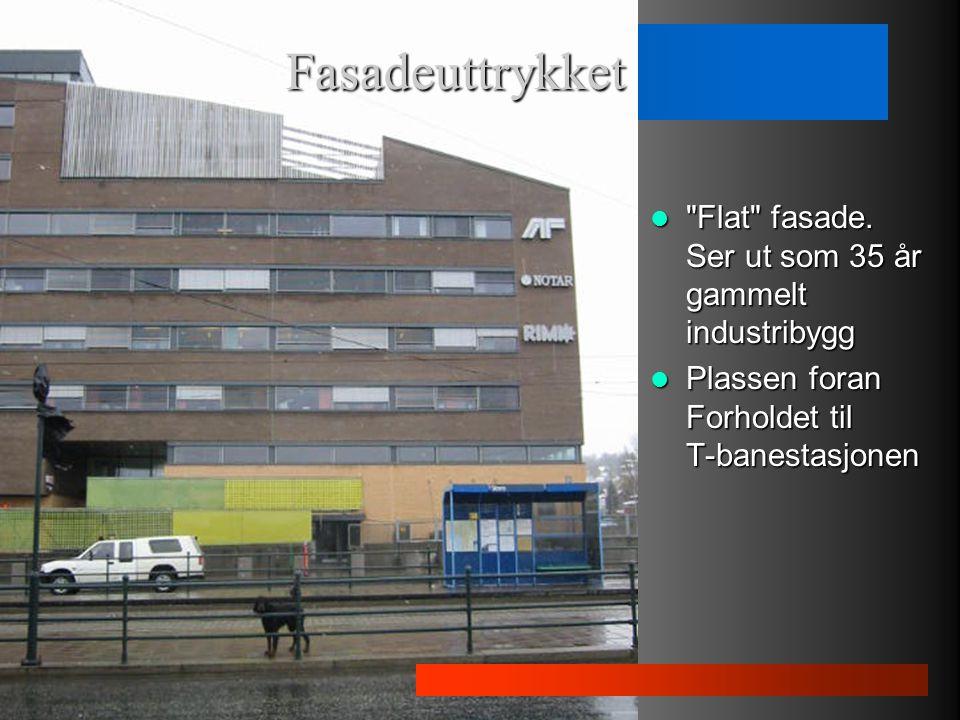 Flat fasade.Ser ut som 35 år gammelt industribygg Flat fasade.