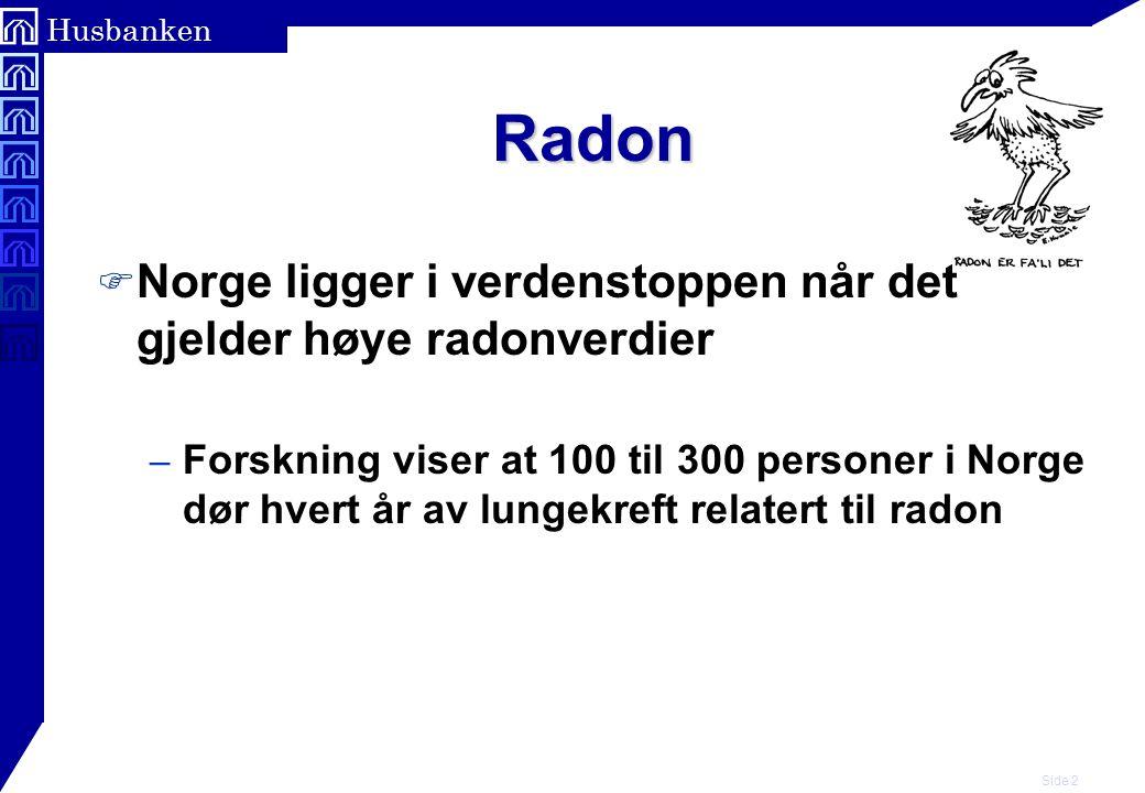 Side 3 Husbanken Radon F Radon viktigste årsak til lungekreft etter røyking F MS ??.