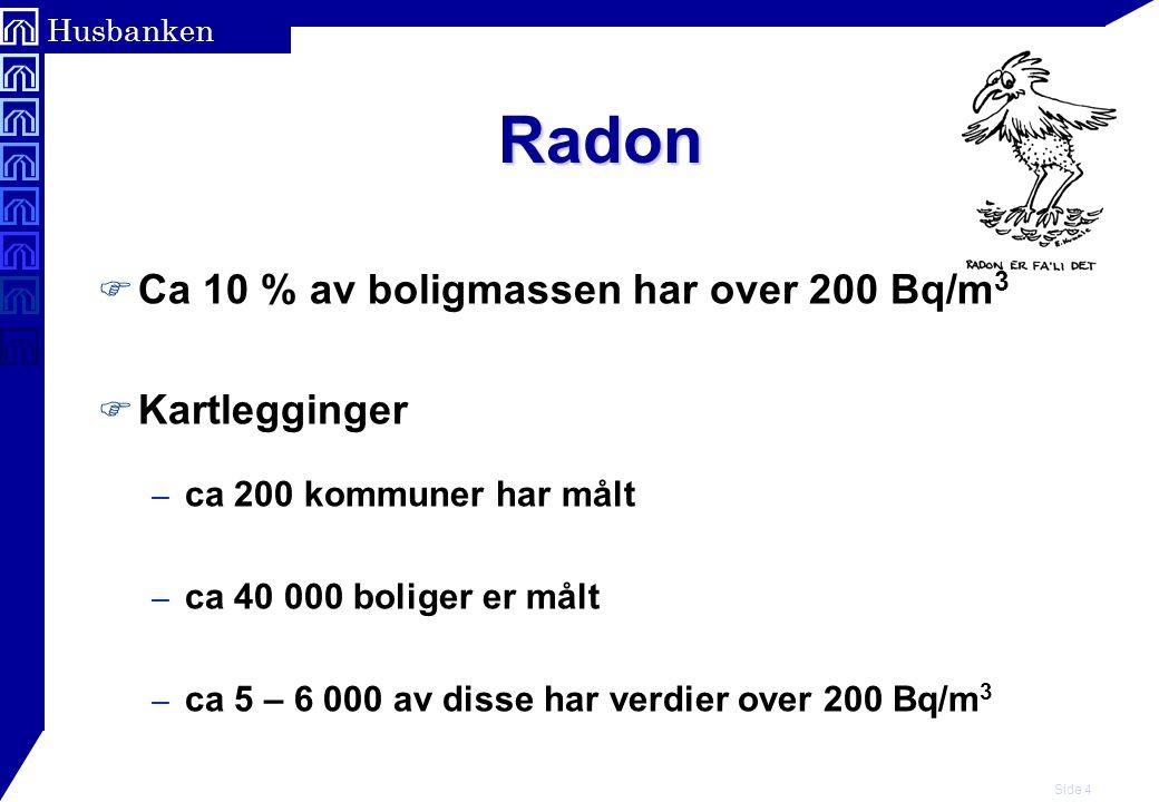 Side 5 Husbanken Radon F Tiltaksgrense 200 Bq/m 3 luft i oppholdsrom (Årsmiddelverdi) F 200 til 400 Bq/m 3 – enkle og billige tiltak bør gjennomføres F Over 400 Bq/m 3, – tiltak anbefales selv om det koster