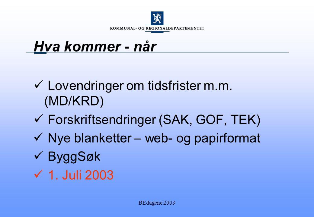 BEdagene 2003 Hva kommer - når Lovendringer om tidsfrister m.m.