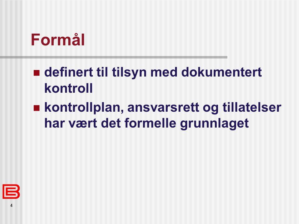 4 Formål definert til tilsyn med dokumentert kontroll kontrollplan, ansvarsrett og tillatelser har vært det formelle grunnlaget