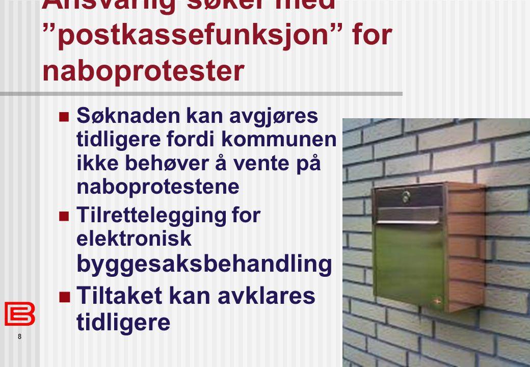 """8 Ansvarlig søker med """"postkassefunksjon"""" for naboprotester Søknaden kan avgjøres tidligere fordi kommunen ikke behøver å vente på naboprotestene Tilr"""