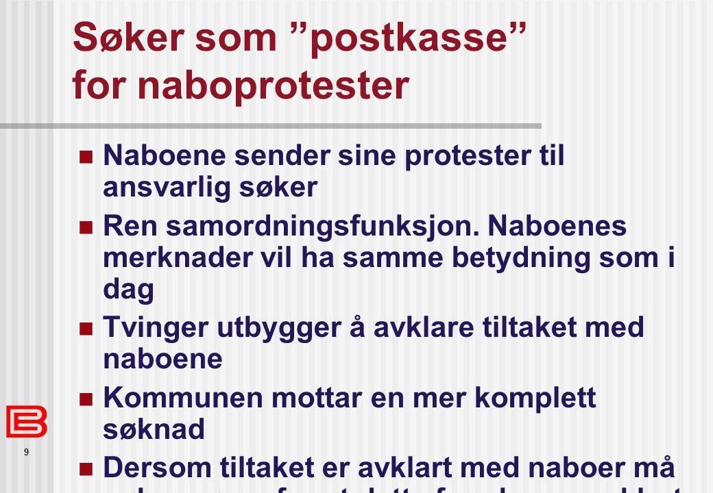 """9 Søker som """"postkasse"""" for naboprotester Naboene sender sine protester til ansvarlig søker Ren samordningsfunksjon. Naboenes merknader vil ha samme b"""