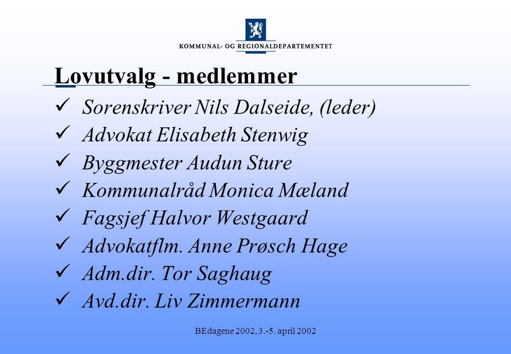 BEdagene 2002, 3.-5. april 2002 Lovutvalg - medlemmer Sorenskriver Nils Dalseide, (leder) Advokat Elisabeth Stenwig Byggmester Audun Sture Kommunalråd