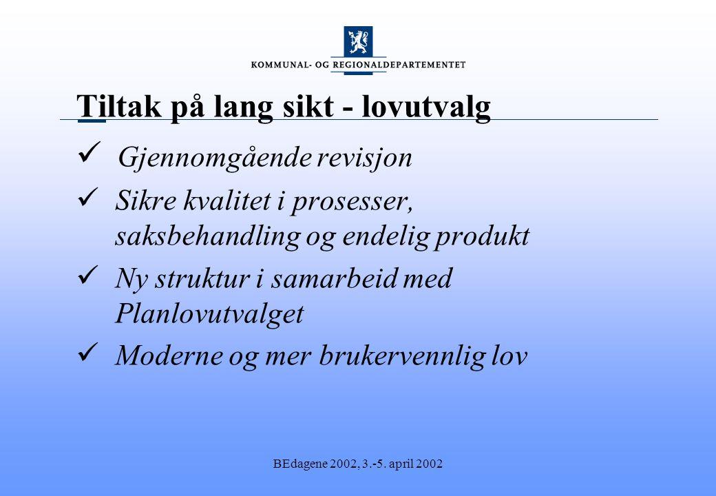 BEdagene 2002, 3.-5. april 2002 Tiltak på lang sikt - lovutvalg Gjennomgående revisjon Sikre kvalitet i prosesser, saksbehandling og endelig produkt N