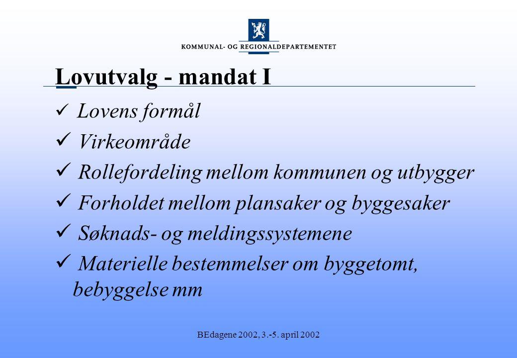 BEdagene 2002, 3.-5. april 2002 Lovutvalg - mandat I Lovens formål Virkeområde Rollefordeling mellom kommunen og utbygger Forholdet mellom plansaker o