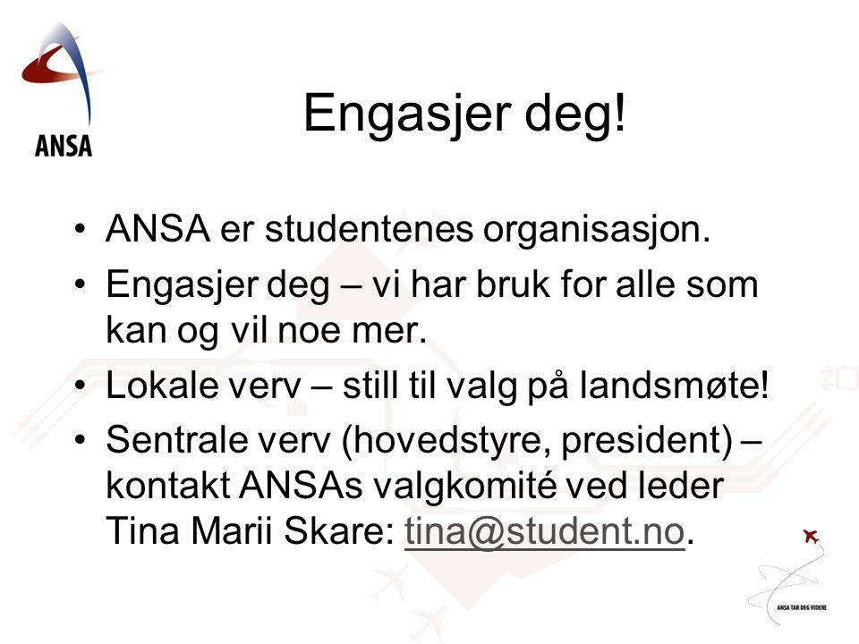 Engasjer deg! ANSA er studentenes organisasjon. Engasjer deg – vi har bruk for alle som kan og vil noe mer. Lokale verv – still til valg på landsmøte!