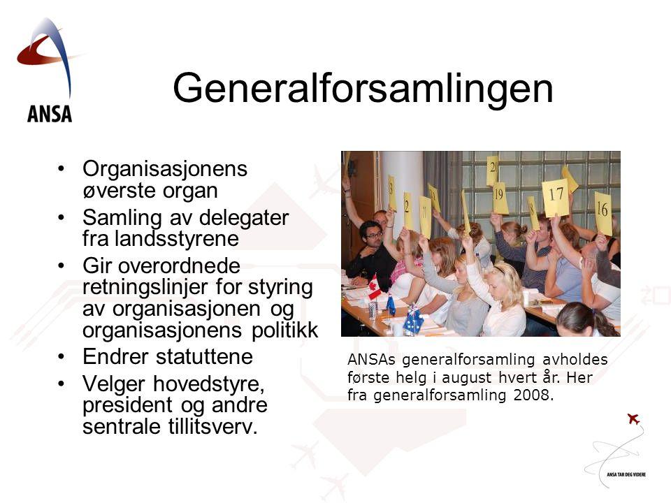 Generalforsamlingen Organisasjonens øverste organ Samling av delegater fra landsstyrene Gir overordnede retningslinjer for styring av organisasjonen o
