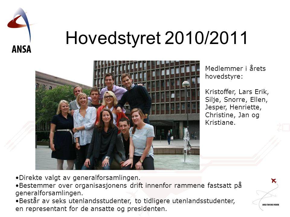 Hovedstyret 2010/2011 Medlemmer i årets hovedstyre: Kristoffer, Lars Erik, Silje, Snorre, Ellen, Jesper, Henriette, Christine, Jan og Kristiane. Direk