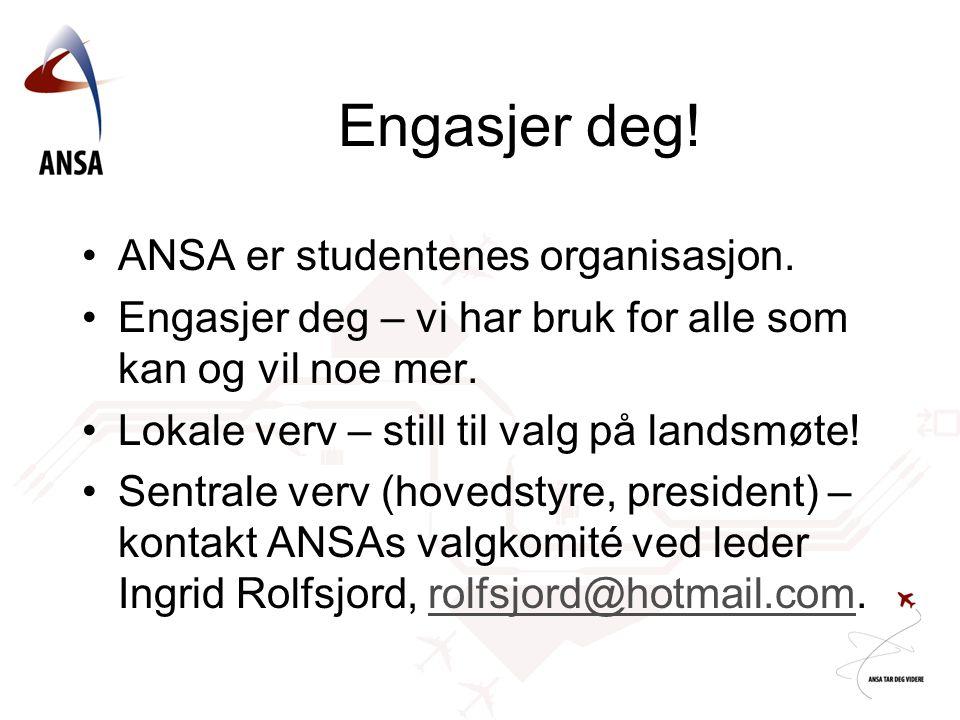 Engasjer deg. ANSA er studentenes organisasjon.
