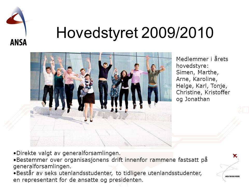 Hovedstyret 2009/2010 Medlemmer i årets hovedstyre: Simen, Marthe, Arne, Karoline, Helge, Karl, Tonje, Christine, Kristoffer og Jonathan Direkte valgt av generalforsamlingen.
