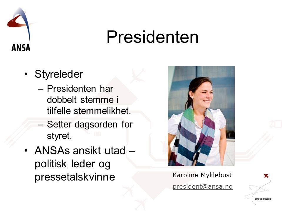 Presidenten Styreleder –Presidenten har dobbelt stemme i tilfelle stemmelikhet.