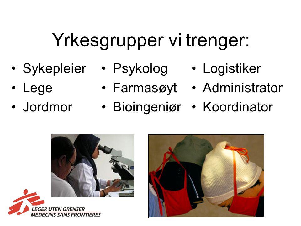 Yrkesgrupper vi trenger: Sykepleier Lege Jordmor Psykolog Farmasøyt Bioingeniør Logistiker Administrator Koordinator