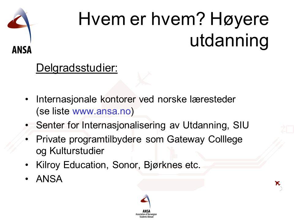 Hvem er hvem? Høyere utdanning Delgradsstudier: Internasjonale kontorer ved norske læresteder (se liste www.ansa.no) Senter for Internasjonalisering a