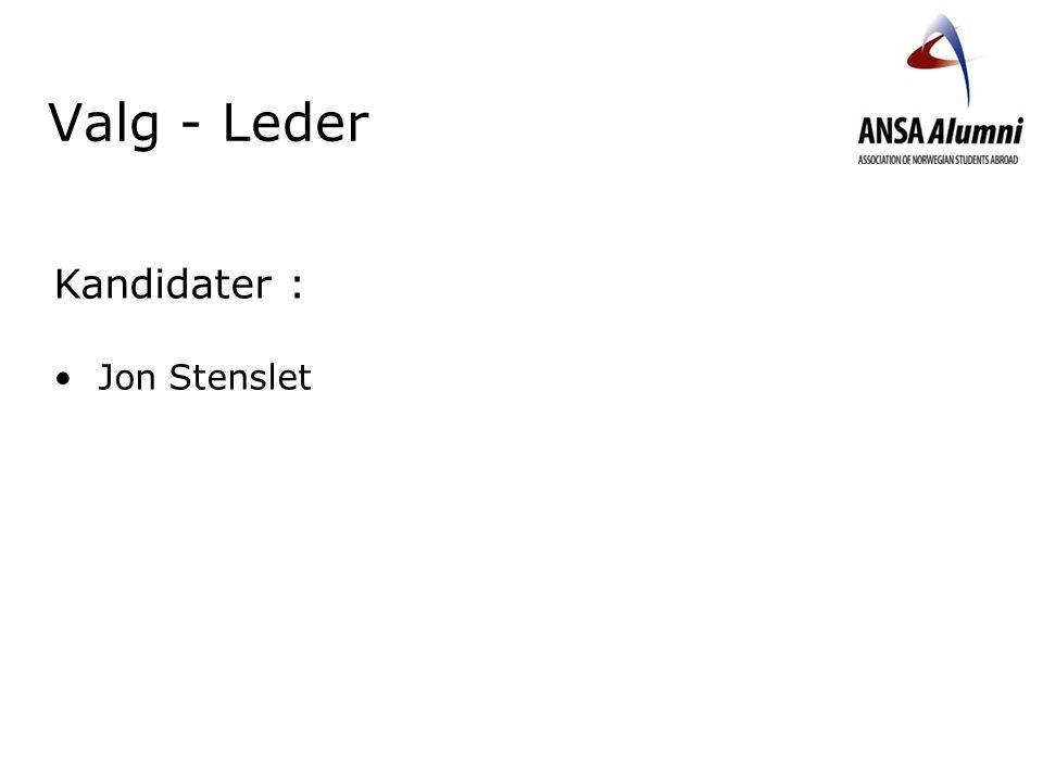 Valg - Leder Kandidater : Jon Stenslet