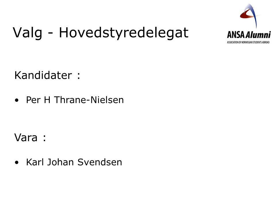 Valg - Hovedstyredelegat Kandidater : Per H Thrane-Nielsen Vara : Karl Johan Svendsen